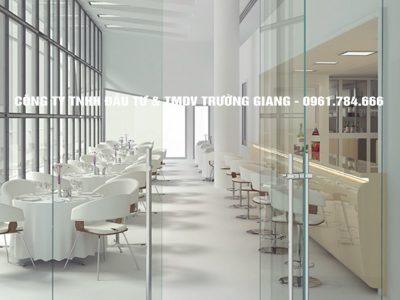 Cửa kính cường lực đẹp nhà hàng tại Ninh Bình