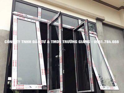 Mẫu cửa sổ nhôm Xingfa 4 cánh mở quay kết hợp với mở hất