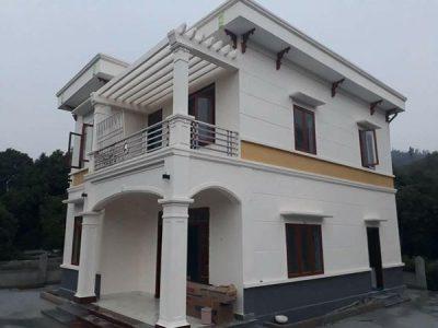 Làm cửa nhôm kính xingfa vân gỗ cho Biệt thự tại Ninh Bình